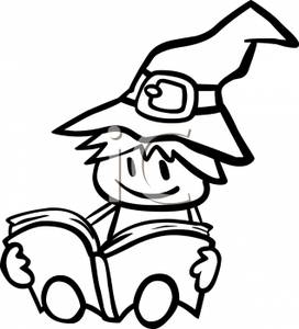 Witch clipart reading And A Cartoon Book of