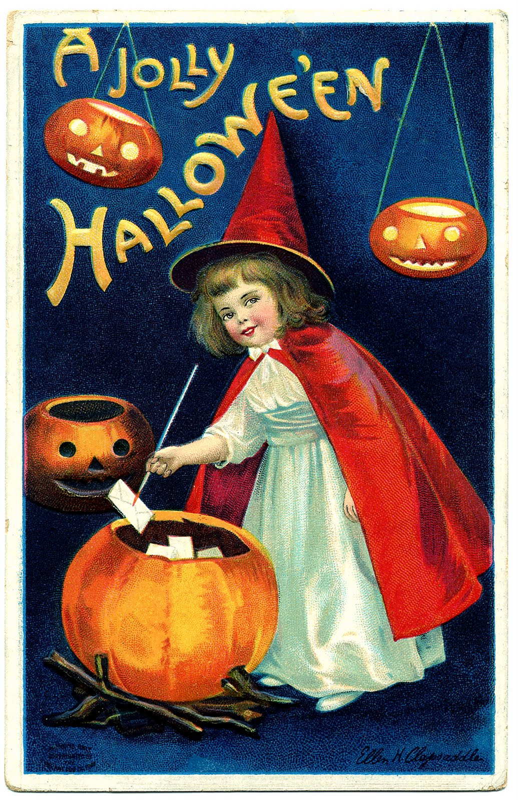 Witch clipart vintage halloween Halloween Art Witch Girl The