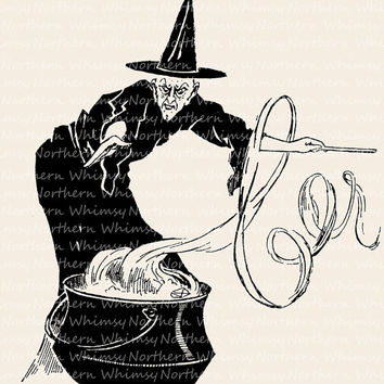 Witch clipart vintage halloween Digital – Art Products Vintage