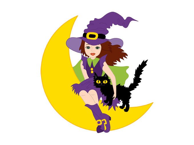 Witch clipart yellow  Digital Cat Vector Moon