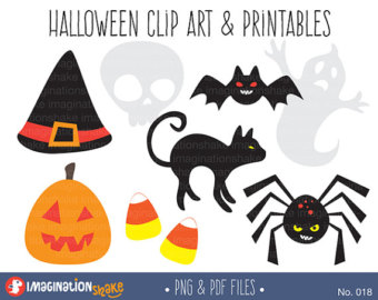 Witch Hat clipart halloween skull / Ghost & Spider Halloween