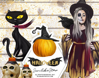 Witch Hat clipart halloween skull Witch hat Girl Etsy Halloween