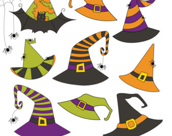 Witch Hat clipart kawaii HALLOWEEN Witch Instant Vector HATS