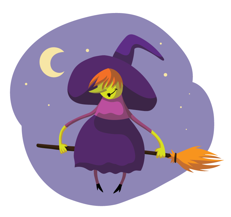 Witchcraft clipart halloween full moon Public Domain to Clip witch24