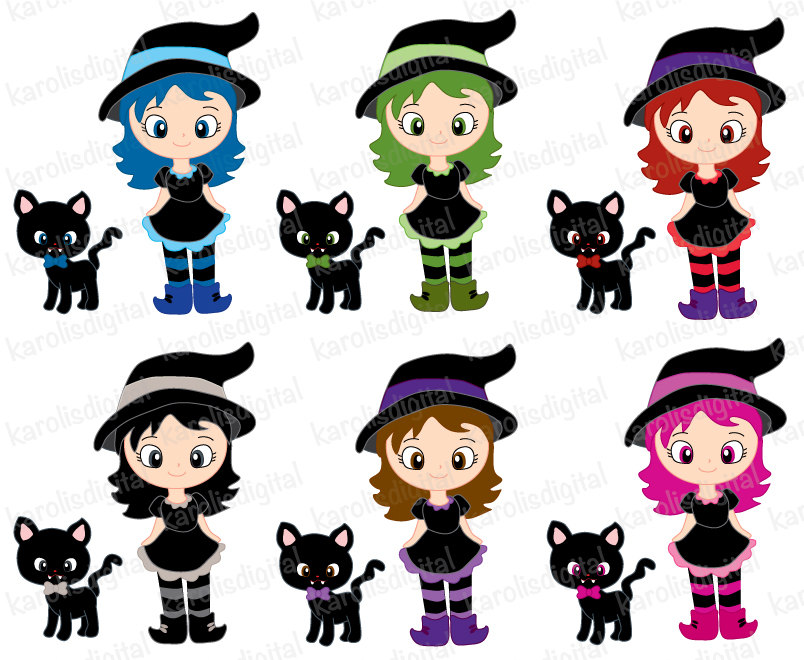 Witchcraft clipart cute witch Set Halloween clip clip black