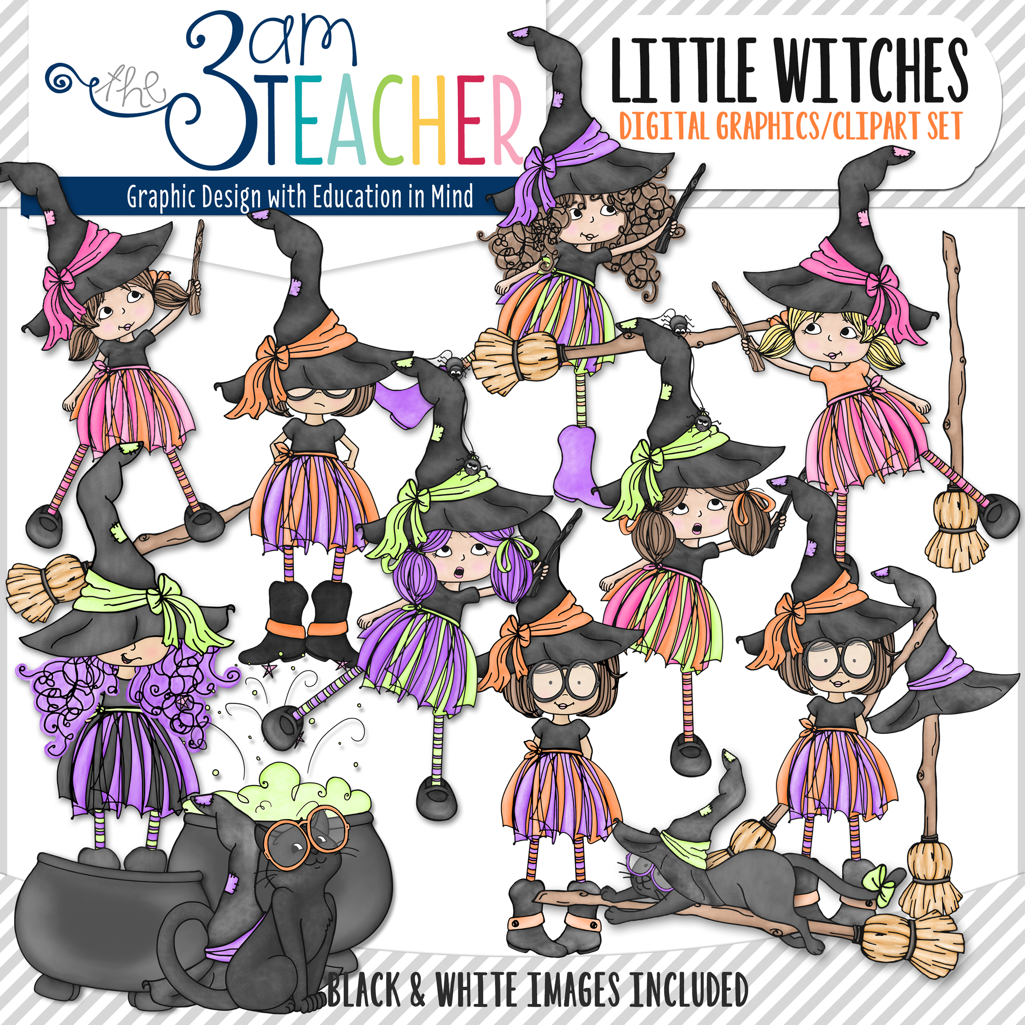 Witchcraft clipart cute witch Over  Set Graphics Halloween