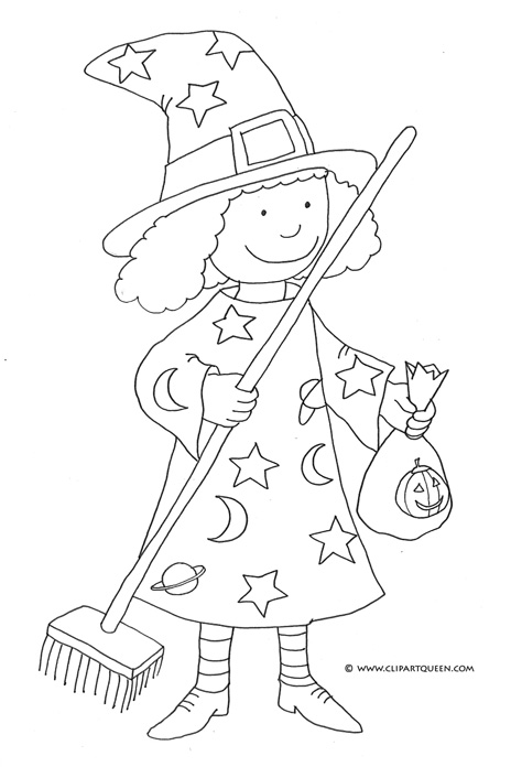 Witchcraft clipart halloween coloring Coloring small Pages Halloween broom
