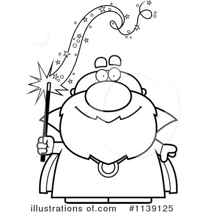 Wizard clipart black and white #9