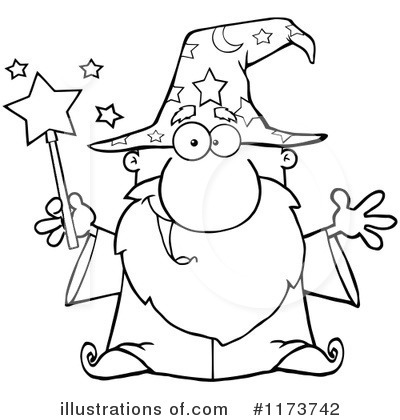 Wizard clipart black and white #8