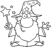 Wizard clipart black and white #7