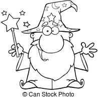 Wizard clipart black and white #3