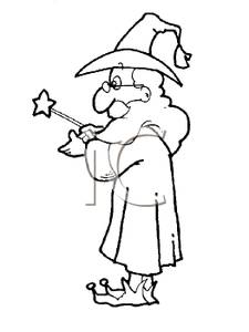 Wizard clipart black and white #6