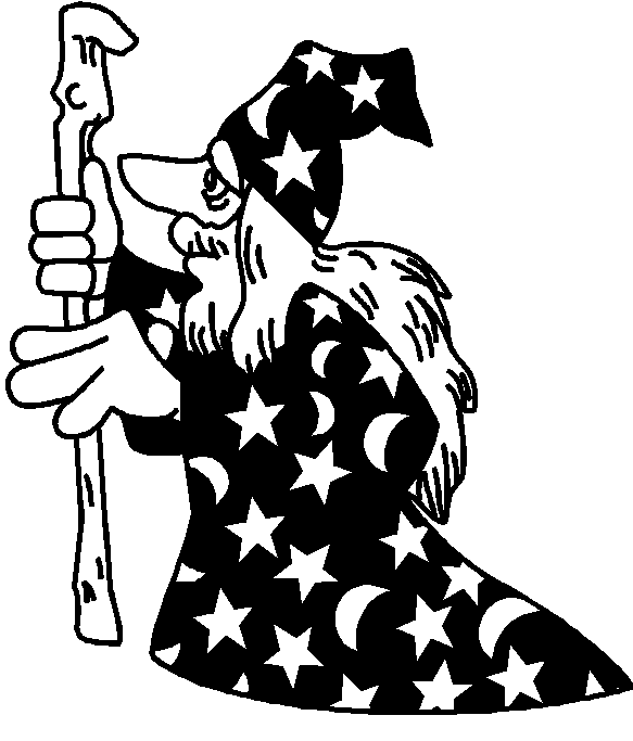 Wizard clipart black and white #13