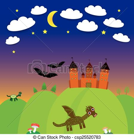 Wizard clipart castle Vector Night bats  landscape