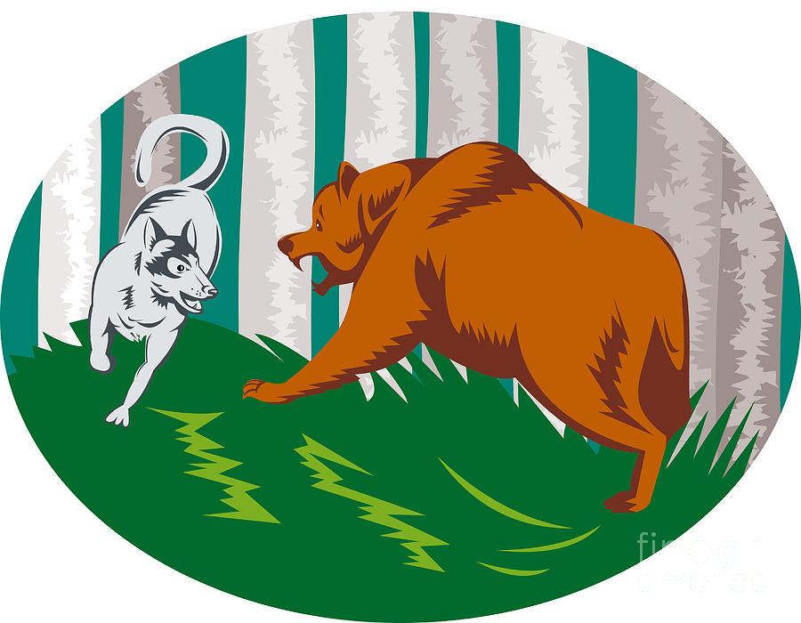 Wolf clipart bear Bear Grizzly Wolf Digital Art