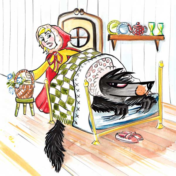 Wolf clipart bed Wolf Storynory Wolf Grandma's Bed