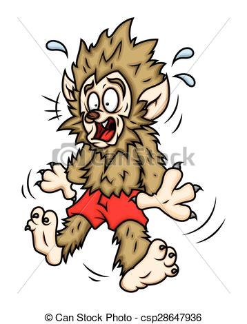 Wolf clipart scared  Scared of Vector Illustration