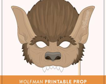 Wolf clipart wolf mask Werewolf Halloween Etsy Props Instant