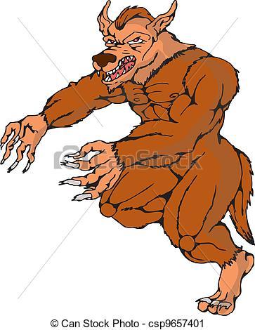 Wolfman clipart Vector werewolf attacking running Art