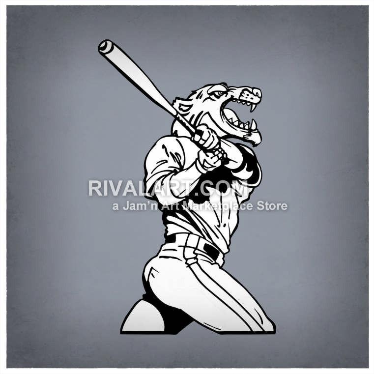 Wolverine clipart baseball A Baseball A Swinging Wolverine