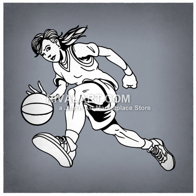 Wolverine clipart indian basketball Woman White Vector Dribbling Player