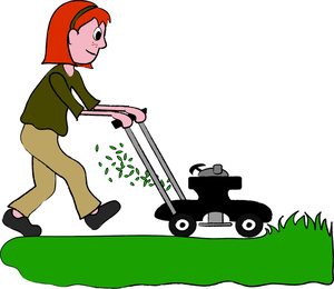 Woman clipart mowing lawn Mower cliparts Girl Mowing Clipart