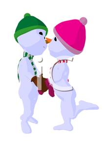 Woman clipart snowman A and Kissing Art Art