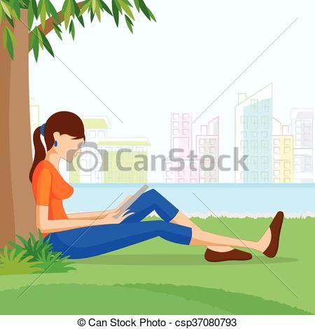Woman clipart tree Tree sitting woman under woman