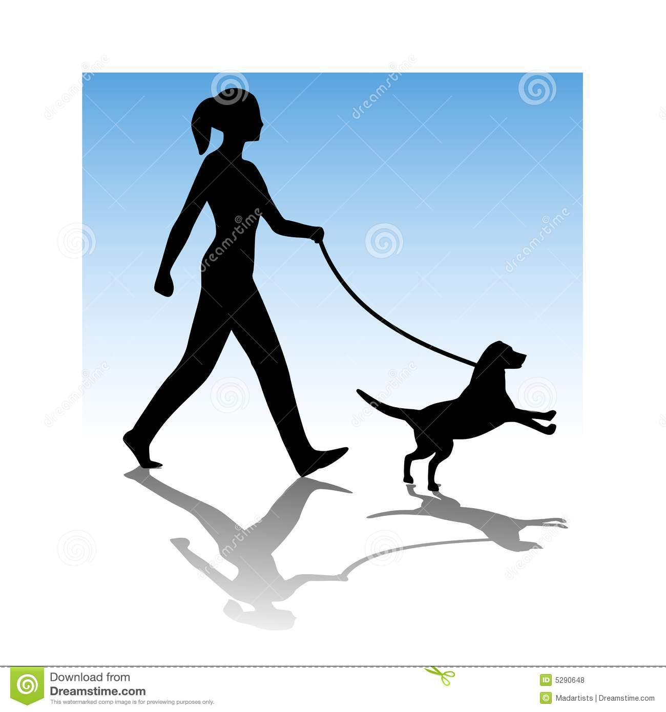Woman clipart walking dog Royalty of collection Clipart Young