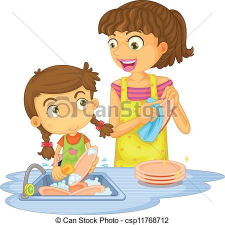 Woman clipart washing dish Plates washing a of girls