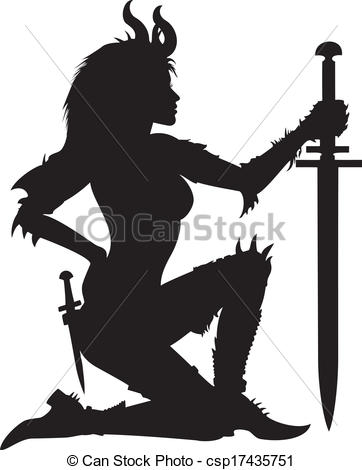 Woman Warrior clipart Woman Clipart Vector silhouette Warrior