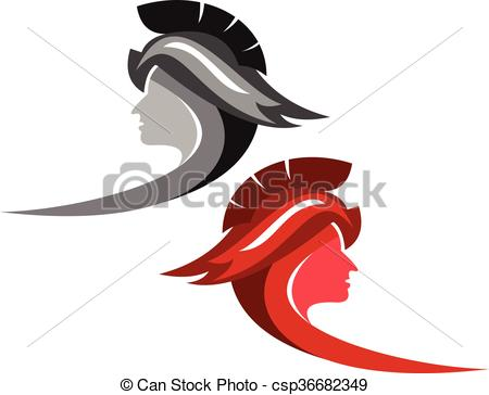 Woman Warrior clipart line art Illustration Vector logo  warrior