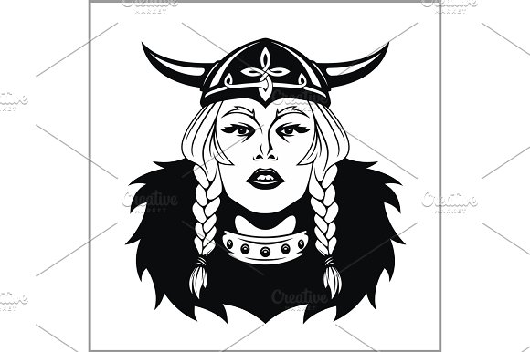 Woman Warrior clipart viking head Warrior Vector Viking illustration Illustrations