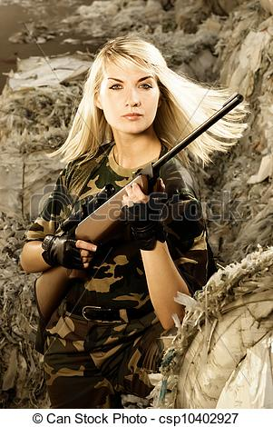 Woman Warrior clipart woman soldier  Stock with a soldier