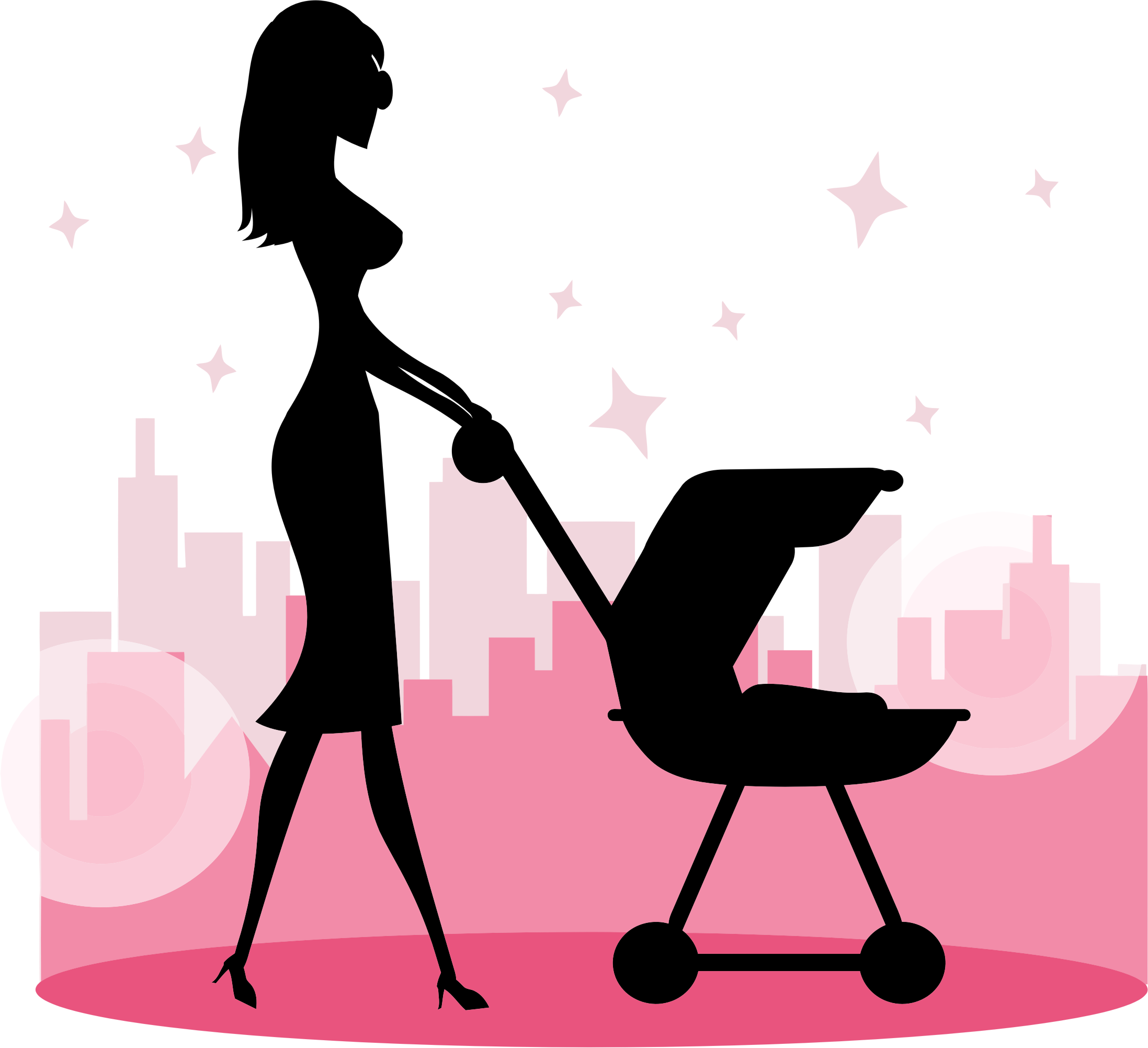 Women clipart baby Woman Baby Carriage Clipart Carriage