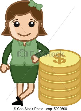 Woman clipart banker Of Art EPS of Vector