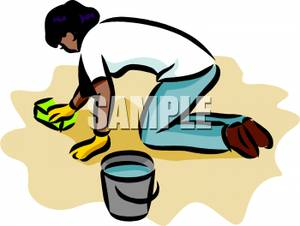Women clipart cleaning floor #1