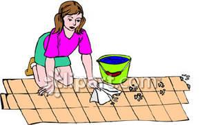 Women clipart cleaning floor #2