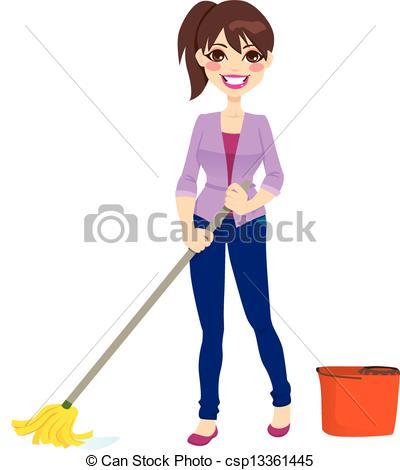 Women clipart cleaning floor #4