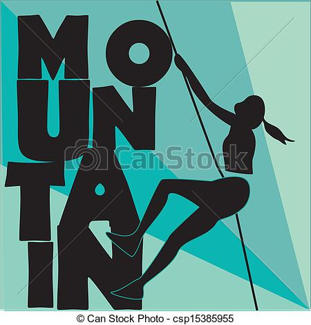 Woman clipart climber The black of a Vector