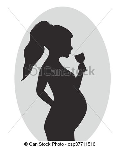 Woman clipart drinking alcohol Vector Art wine of Red