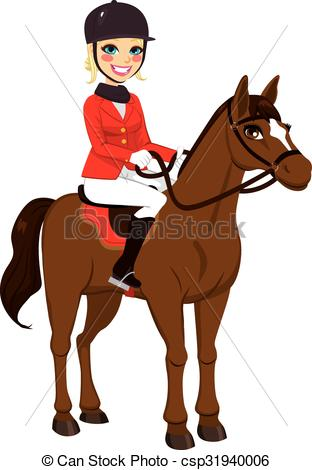 Woman clipart horseback riding Equestrian Horse blonde of Clipart