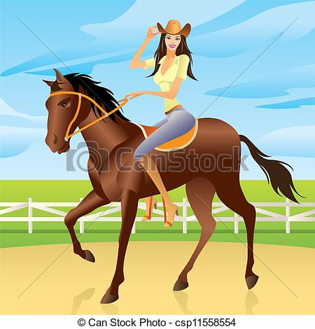 Woman clipart horseback riding Style Girl riding horse Vector