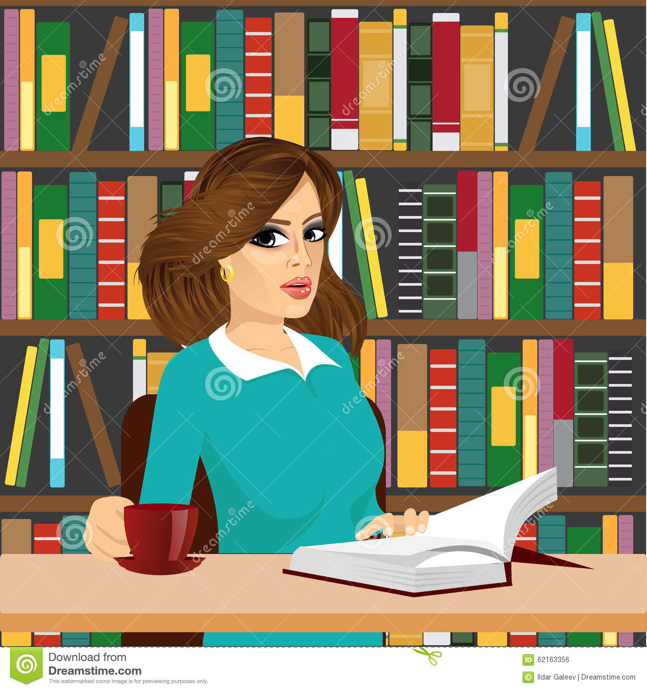 Women clipart librarian Woman librarian of brunette Clipart