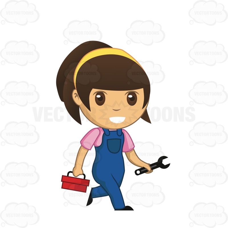 Women clipart mechanic #auto And Box Tool #brunette