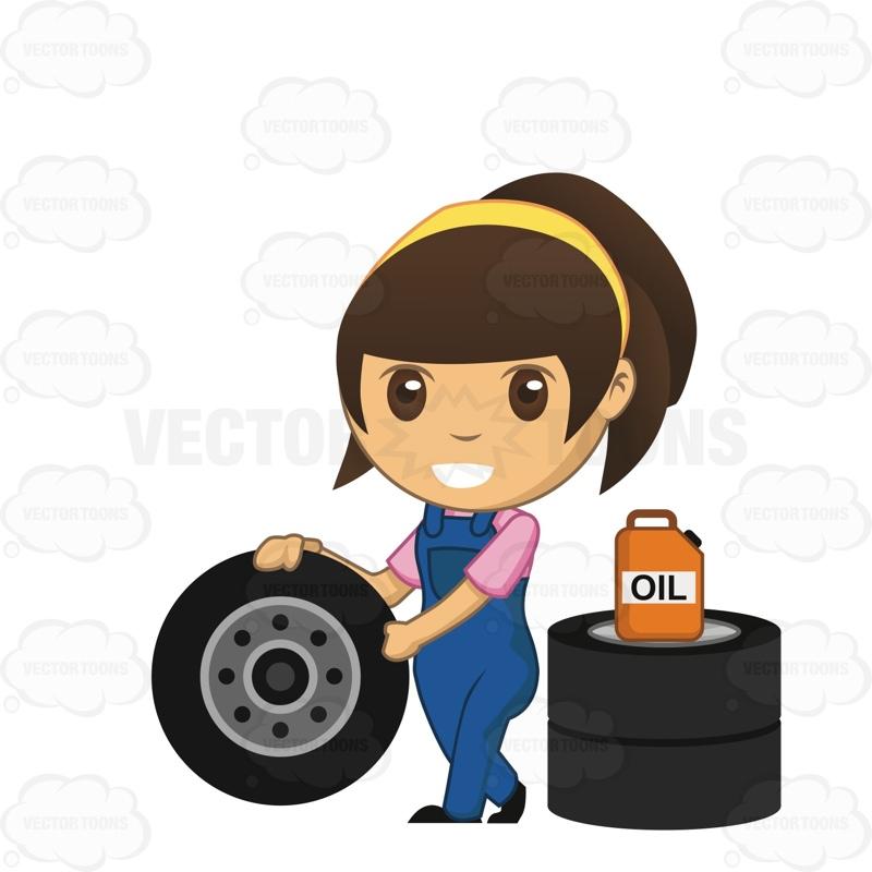 Women clipart mechanic Mechanic Pushing Tire Brunette A