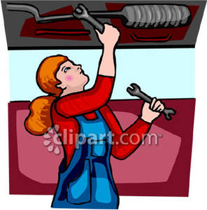 Women clipart mechanic Fixing a Royalty Picture Car
