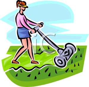 Woman clipart mowing lawn Old Royalty Fashioned Fashioned Woman