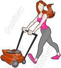 Woman clipart mowing lawn Clip Clip Art  Woman