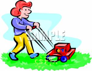 Woman clipart mowing lawn The Free Lawn Royalty Smiling